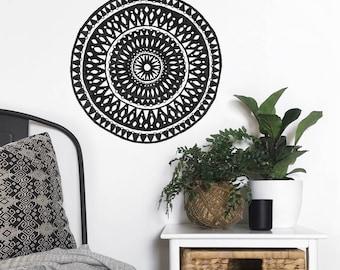 Mandala Wall Dot, Removable and Reusable Wall Sticker, Wall Decor, Wall Decal, Tribal Art, Boho Art, Monochrome, Black and White