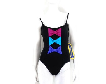 Vintage Black Swimsuit Maillot w/Bows 1 pc Bathing Suit by Mainstream Vintage Swimwear Old Store Dead Stock sz 14 #160