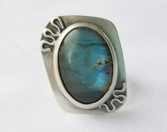Ella, Labradorite and Argentium Sterling Silver Statement Ring, OOAK, Jewelry Art, size 7.5