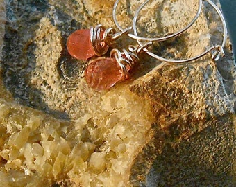 Strawberry Sunstone Hoop Earrings Tear drop Briolette Stones Sweet Delicate Gift Trending Colors
