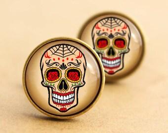 Sugar Skull Cufflinks - Web, Halloween Day of the Dead, Rockabilly Cufflinks, Tattoo Cufflinks, Sugarskull, Vintage, Wedding, Groom, Bronze