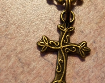 Antique Brass Cross Necklace or Anklet