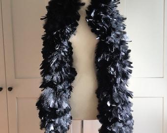 Black Feather Boa, 1940s Burlesque Boa, 40s Black Feather Boa