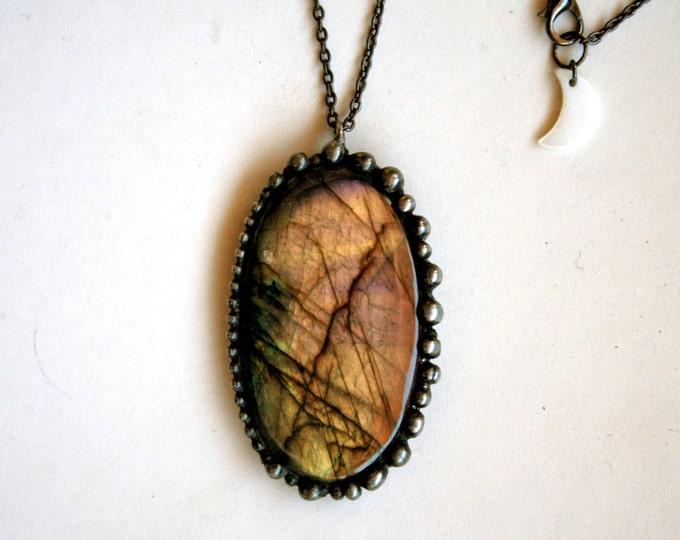Large Labradorite Necklace // Large Pink Gold Labradorite Necklace // Pink Purple Labradorite Necklace