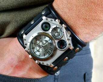 "Mens wrist watch leather bracelet ""Aviator-3"" Steampunk watch. gifts for him leather cuff wrist watch. SALE. Worldwide shipping."