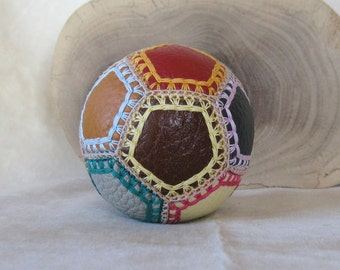 Little 7cm/2.5ins leather patchwork Ball - multicoloured genuine Leather and Cotton yarn - pure new Wool filling - fidget comfort toy
