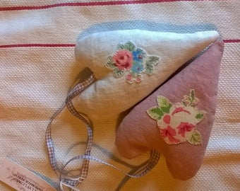 Floral Appliqued Linen Hearts Filled with French Lavender