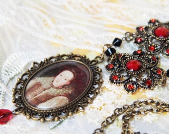 Beauty in blood. Countess Bathory altered art necklace.