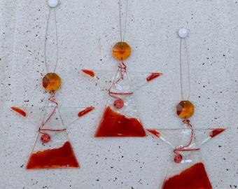 Fused Glass Angels Set. Red Glass Guardian Angel. Carmin Suncatcher Angel. Christmas Decoration. Christmas Ornament. Wedding Favor