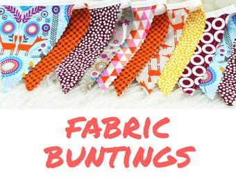 "Fabric Bunting Decoration ""Nordic Fox""  Nursery Decor, Party Decoration, Fabric Flag Bunting, Flag Garland, Fabric Garland, Nursery Garland"