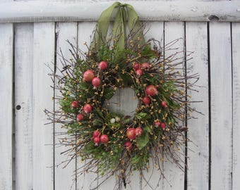 Berry Wreath - Primitive Country Wreath - Twig  Wreath - Rustic Wreath - Spring/ Summer Wreath - Bird Nest Wreath - Spring Wreath - Spring
