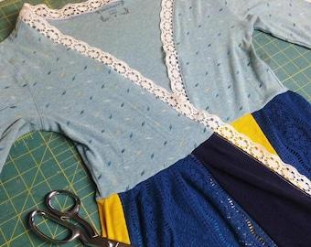 SALE Meadowlark Upcycled Cardigan // Ooak Sweater Made Using Repurposed Materials