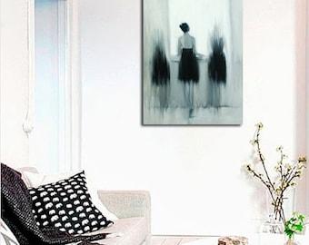 Modern art print, Black and white canvas art, Wall canvas print, Dancer art,  Giclee print, Ballerina art