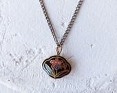 Doublesided Cloisonne Floral Pendant/Iris Flower Enamel Necklace/Vintage Cloisonne/Cloisonne Puffy Pendant/Black/Brass/Mini/Collector Charm