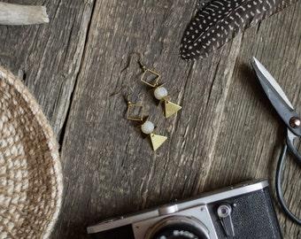 Geometric earrings, white agate earrings, modern earrings, triangle earrings, boho style. architectural earrings, geometric jewelry under 25