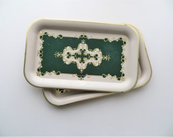 Mid Century Decorative Serving Trays, Set of Three, Dark Green with Gold Damask Lining, Mother's Day Gift for Grandma, French Country Decor