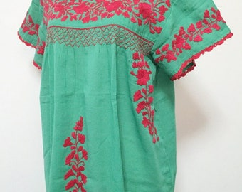 XL Embroidered Blouse Cotton Top In Green, Boho Blouse, Hippie Top, Gypsy Blouse, Peasant Blouse