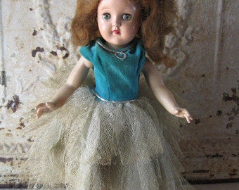 "Ideal Toni Doll P-90, 14"" Tall, Auburn Hair, Vintage, Frilly Formal Dress"