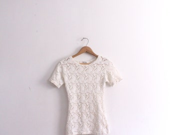 White 90s Sheer Lace Top
