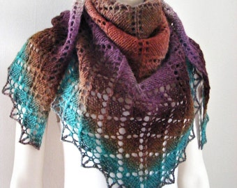 Wool knit shawl, hand knitted shawl, multicolored winter shawl, gradient color, women's triangle scarf, handmade, brown purple emerald green
