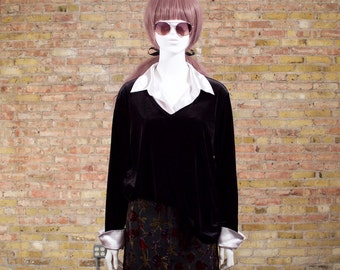 all buisness 90s velour top / black velour top / velour tunic / minimalist / oversized velour top / grunge top / collared top