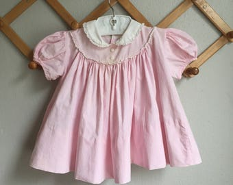 Vintage 50s Baby Dress - 1950s 1960s Infant Baby Girl CI Castro Dress Baby Pink White Bib Peter Pan Collar Lace Puff Sleeve 6 9 12 Months
