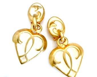 Clara Studio for Asymmetry Heart Earrings, Off White Enamel, Matte Gold Tone, Dangle Heart Charm, Vintage 1994 Clip-On, Designer Signed