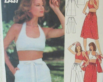 Vintage Butterick 4854 ca. 1970s; Fast & Easy Pattern. Misses' Halter Top, Skirt, Pants, Shorts and  Stole. UNCUT Size 12