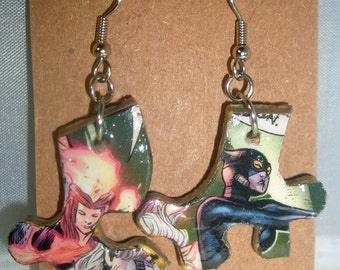 Catwoman Comic Book Recycled Puzzle Dangle Earrings
