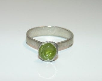 SR1607 Artisan Green Enamel Nature Theme  Sterling Silver Contemporary US Size 6.75 UK N Modernist Ring 925 Jewelry Jewellery For Her