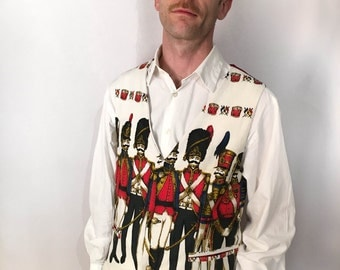 Marching Band Waistcoat - musical red white black tailored vest vintage cotton taffeta funky hand sewn handmade by The Emperor's Old Clothes