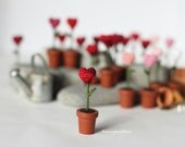 Valentine Gift Heart , One Miniature Crochet Heart in the Pot, Mother's Day,  Decoration, Potted Flower Tiny Heart,  Crochet Fiber Art, Red