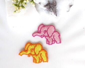 Elephant Embroidered Applique Orange Yellow Purple Pink Elephant Applique Patches, Embroidery Elephant Animal Appliques Sew on Vintage