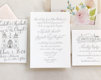 The Southern Charm Suite - Letterpress Calligraphy Wedding Invitations - Floral Watercolor liner, venue sketch, save the date, Blush, Grey