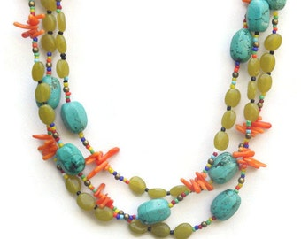 Blue Orange Green Multi Strand Necklace, Colorful Extra Long Handmade, Natural Stones Bohemian Jewelry, Hippie Jewelry, OOAK ALFAdesigns
