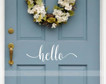 Hello Door Decal Vinyl Decal Vinyl Hello Decal Greeting Decal Vinyl Door Decal Front Porch Decal Porch Decor Door Decor Hello Vinyl Trendy