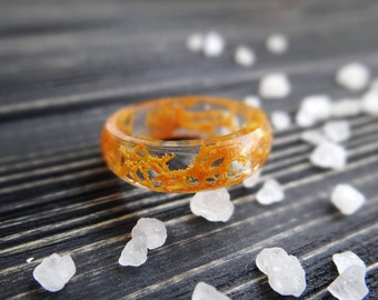 Orange ring clear resin ring thanksgiving best friend rings for teens moss jewelry pumpkin bff gift halloween autumn wedding ideas bff rings