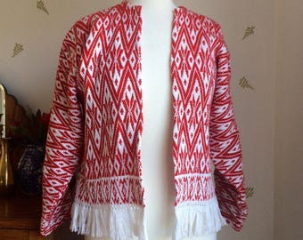 Vintage Red & White Woven Jacket with Fringe / 36 Bust