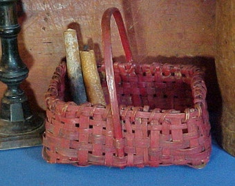 Antique Wood Splint Basket in Red Paint, Old and Original, Smaller Size