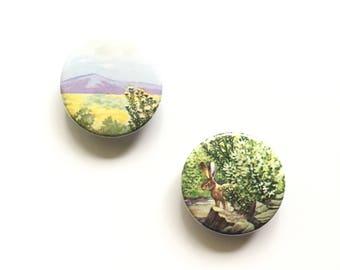 Golden Nature Guide Magnets / Set of 2 / Rabbitbrushes / Nature Magnets / Fridge Magnets / Home Decor / Office Organizer / Stocking Stuffer