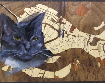 Cat oil painting on Woodcutmaps - Wood inlay map 9 in x 16 in