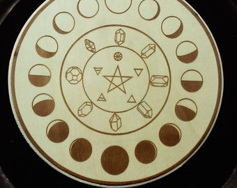 Lunar Moon Phase Crystal Grid Alter Wall Plaque Home Decor Laser Art Planetary Astrology Zodiac Witch Wicca Pagan Pastel Goth