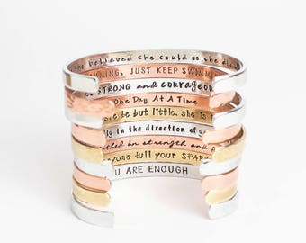 Inspirational Bracelet, Confidence Cuffs® Hand Stamped Secret Message Bracelets, Inspirational Jewelry, Quote Jewelry Graduation Gift