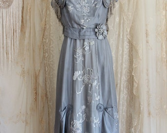Magnificent Cornflower Blue Antique Dress / Titanic Era / Edwardian / Wedding Dress / Museum / Bridesmaid / 1910s Dress / Size Medium