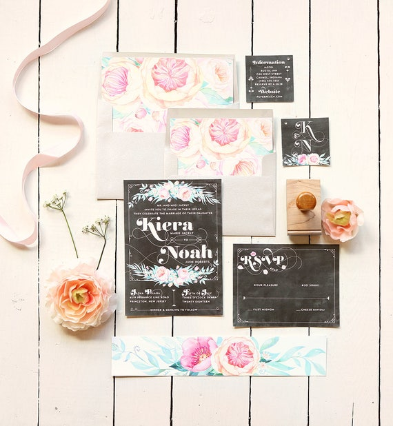 Chalkboard Wedding Invitation Set -  Rustic Floral Printable or Printed Invites - Boho Spring Wedding Invitation - Typography Invites