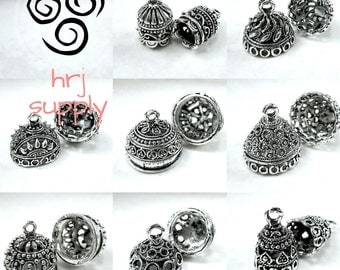 12-18mm 8 Styles/Large to Medium Silver Bead Caps for Tassels/Charms - Sold per pair