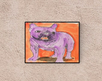 Pet lover gift : french bull dog - pop art- perfect gift for dog lover - portrait - custom dog portrait - original artwork