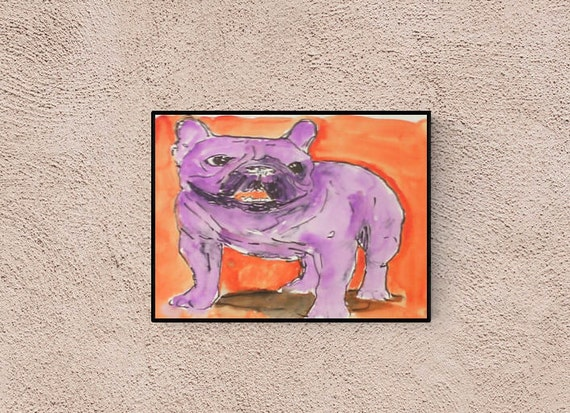 Hand gefertigte Pop Art Illustration: French Bulldog, Original Bild, handsigniert , Unikat