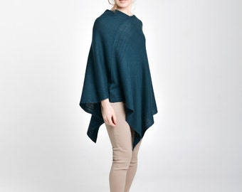 Cashmere poncho pregnancy clothes maternity clothes green poncho plus size clothes wool cape asymmetrical plus size cape pure cashmere