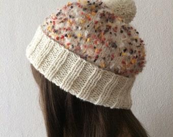 Slouchy Hat, Pom Pom Beanie, Slouchy Knit Hat, Slouchy Beanie Women, Knit Beanie, Boho Hat, Knit Hat Woman